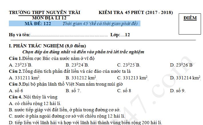 Đề kiểm tra giữa kì 1 môn Địa lớp 12 - THPT Nguyễn Trãi 2017