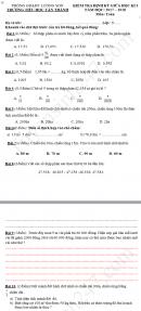 Đề thi giữa kì 1 lớp 5 môn Toán - Tiểu học Tân Thành 2017