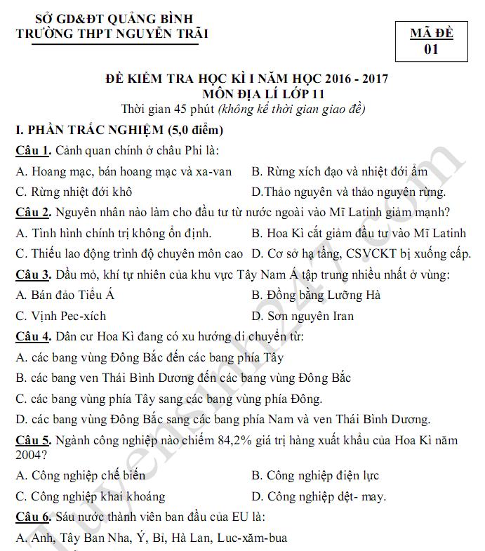 Đề thi học kì 1 lớp 11 môn Địa 2017 - THPT Nguyễn Trãi