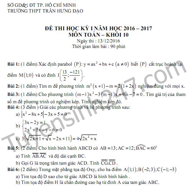 Đề thi học kì 1 lớp 10 môn Toán THPT Trần Hưng Đạo 2017