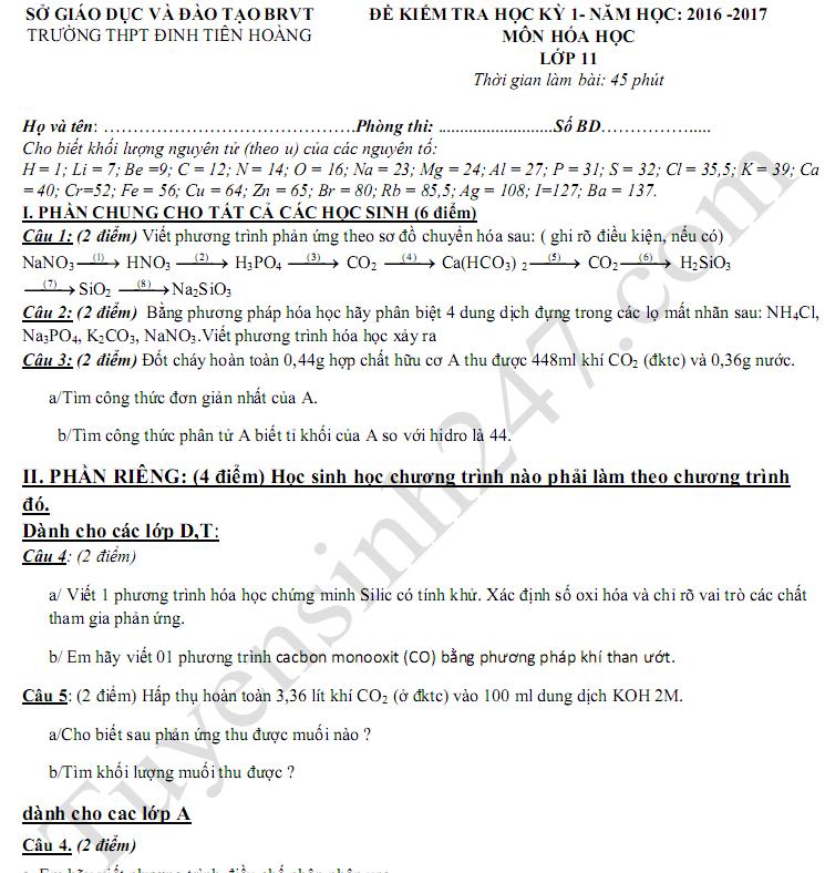 Đề kiểm tra học kì 1 lớp 11 môn Hóa 2017 - THPT Đinh Tiên Hoàng