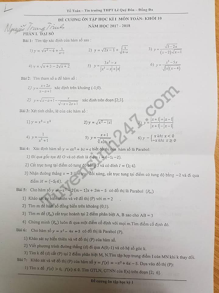 Đề cương ôn tập kì 1 môn Toán lớp 10 năm 2017 THPT Lê Quý Đôn