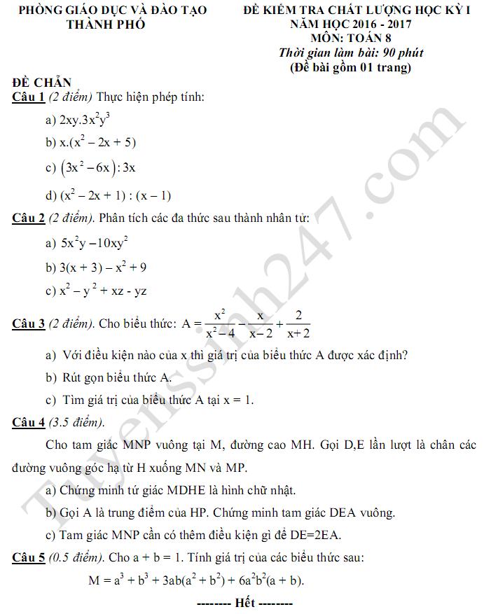 Đề thi kì 1 lớp 8 môn Toán 2017 - Thanh Hóa (Có đáp án)