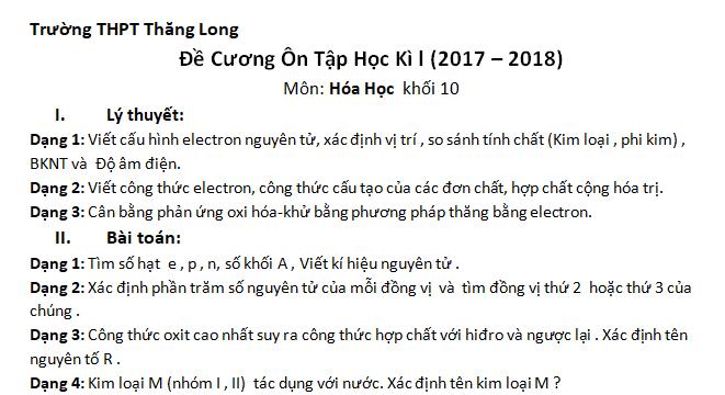 Đề cương ôn tập Hóa học 10 HKI năm 2017 - 2018 trường THPT Thăng Long