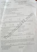 Đáp án đề thi học kì 1 lớp 12 môn Lý Sở GD Nam Định 2017
