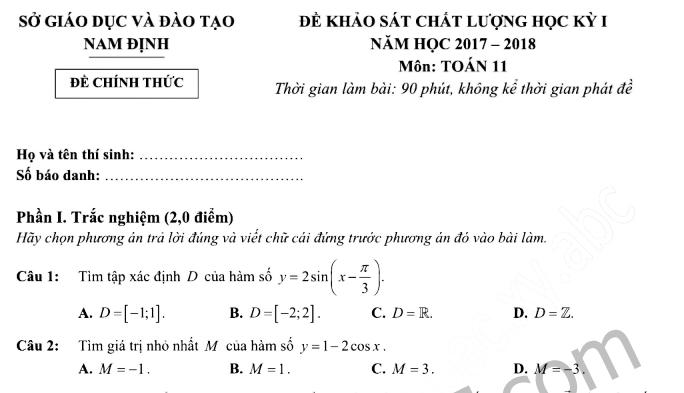 Đề thi học kì 1 lớp 11 môn Toán 2017 - 2018 Sở GD Nam Định