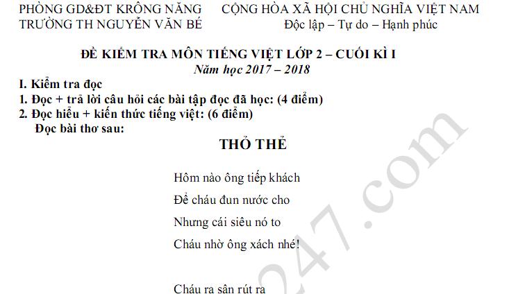 Đề thi kì 1 lớp 2 môn Tiếng Việt năm 2017 - TH Nguyễn Văn Bé