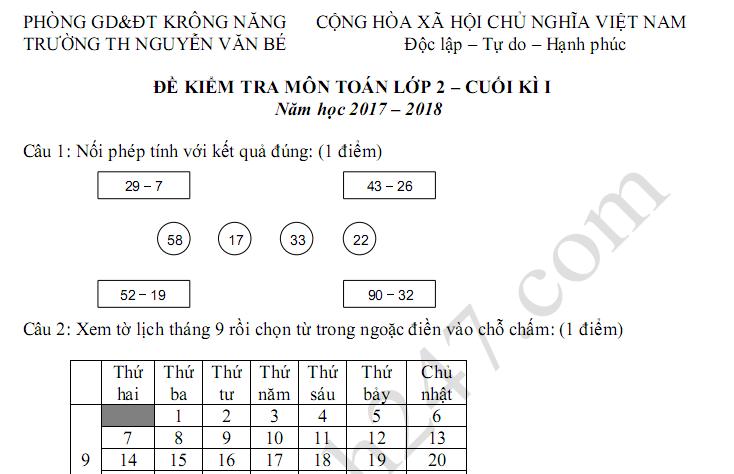 Đề thi học kì 1 lớp 2 môn Toán 2017 - 2018 TH Nguyễn Văn Bé