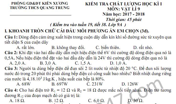 Đề thi học kì 1 lớp 9 môn Lý THCS Quang Trung 2017 - 2018