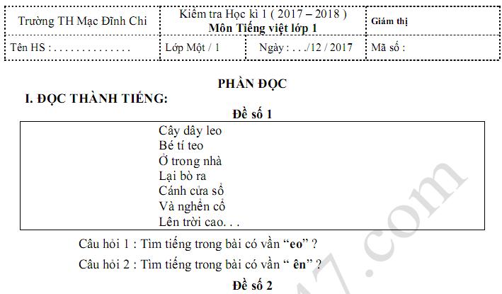 Đề thi kì 1 lớp 1 môn Tiếng Việt 2017 - 2018 TH Mạc Đĩnh Chi