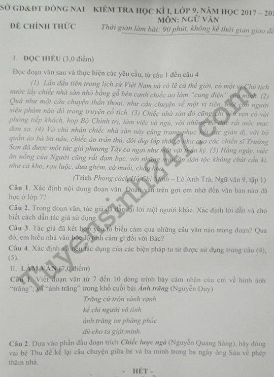 Đề kiểm tra kì 1 lớp 9 môn Văn 2017 - 2018 Sở GD Đồng Nai