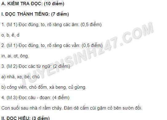 Đề kiểm tra học kì 1 lớp 1 môn Tiếng Việt - TH Thạnh Thới An 2017