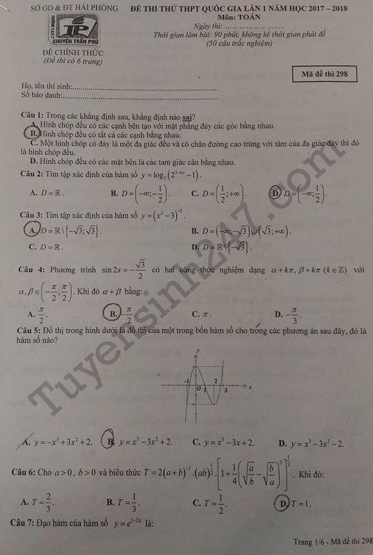 Đáp án đề thi thử THPTQG môn Toán - THPT Chuyên Trần Phú 2018