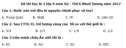 Đề kiểm tra kì 1 môn Sử lớp 9 năm 2017 - 2018 THCS Nhuế Dương