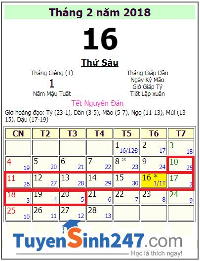 Lịch nghỉ tết Nguyên Đán 2018 học sinh Đồng Tháp