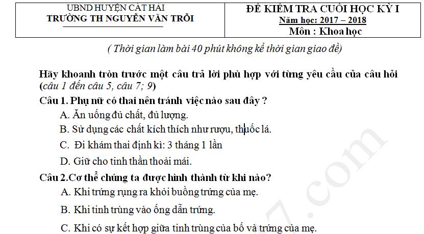 Đề thi kì 1 lớp 5 môn Khoa học TH Nguyễn Văn Trỗi 2017 - 2018