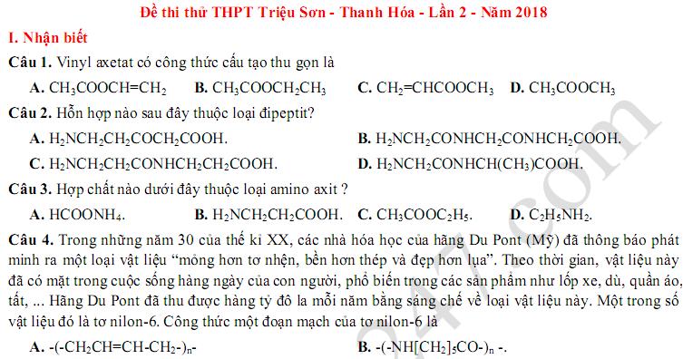 Đề thi thử THPTQG môn Hóa THPT Triệu Sơn 2018 lần 2