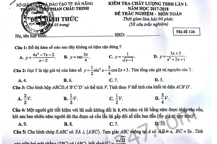 Đề thi thử THPT Quốc gia môn Toán THPT Phan Châu Trinh 2018 lần 1