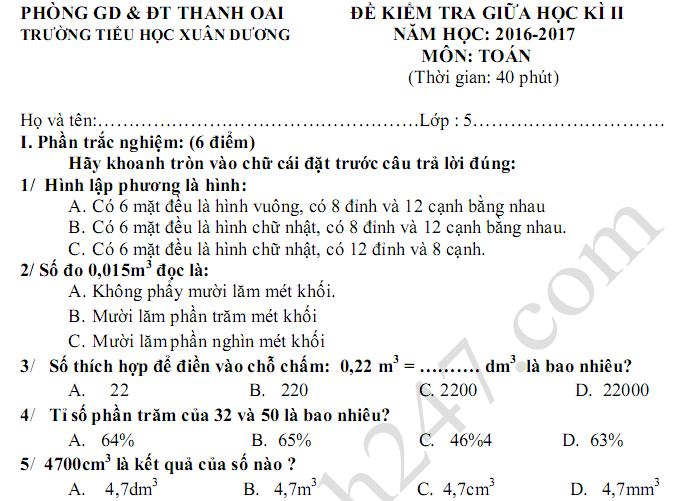 Đề thi giữa kì 2 lớp 5 môn Toán 2017 - TH Xuân Dương