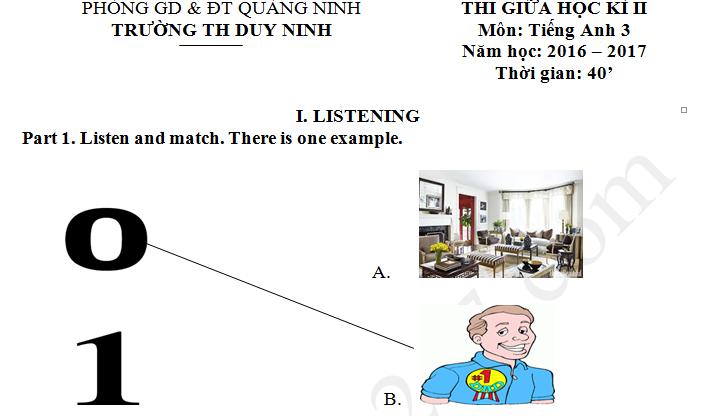 Đề thi giữa kì 2 lớp 3 môn tiếng Anh TH Duy Ninh 2017