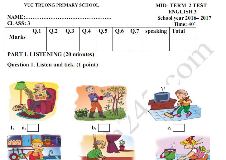 Đề thi giữa kì 2 lớp 3 môn tiếng Anh 2017