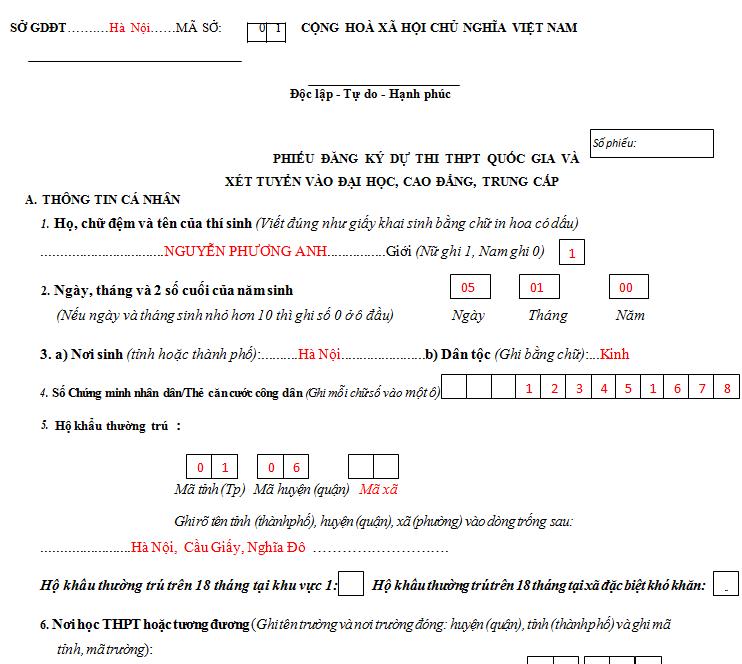 Hướng dẫn điền phiếu ĐKDT THPT Quốc gia và xét tuyển ĐH 2018