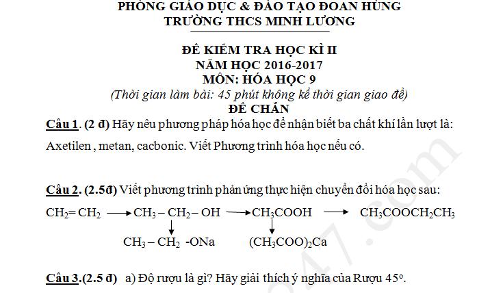Đề thi kì 2 lớp 9 môn Hóa 2017 - THCS Minh Lương