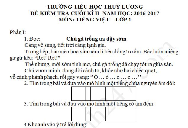 Đề thi kì 2 lớp 1 môn Tiếng Việt TH Thúy Lương 2017