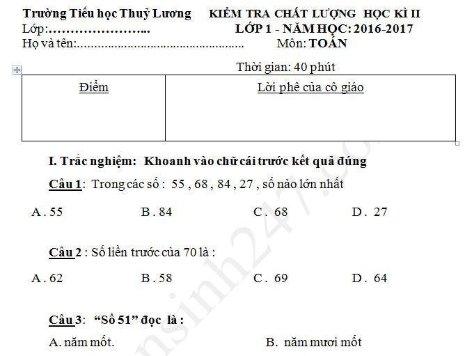 Đề thi kì 2 lớp 1 môn Toán TH Thúy Lương 2017