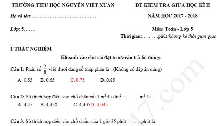 Đề thi giữa kì 2 lớp 5 môn Toán 2018 - TH Nguyễn Viết Xuân