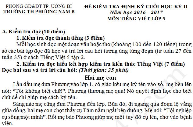 Đề thi kì 2 lớp 5 môn Tiếng Việt 2017 - TH Phương Nam B