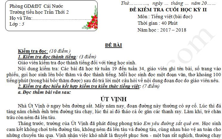 Đề thi học kì 2 lớp 5 môn Tiếng Việt năm 2018 - TH Trần Thới 2