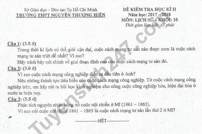 Đề thi học kì 2 lớp 10 môn Sử 2018 - THPT Nguyễn Thượng Hiền