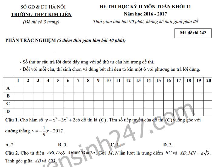 Đề thi kì 2 lớp 11 môn Toán 2017 THPT Kim Liên
