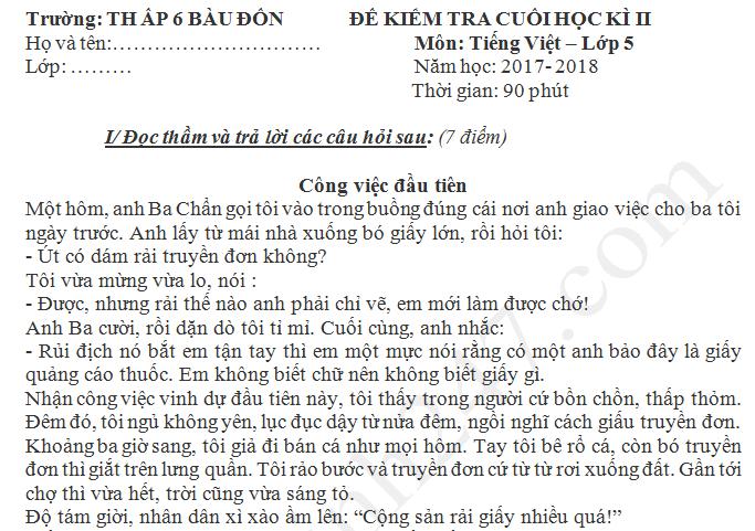 Đề thi kì 2 lớp 5 môn Tiếng Việt 2018 - TH Ấp 6 Bàu Đồn