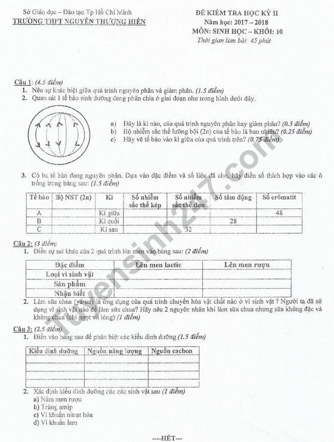 Đề thi kì 2 lớp 10 môn Sinh 2018 - THPT Nguyễn Thượng Hiền