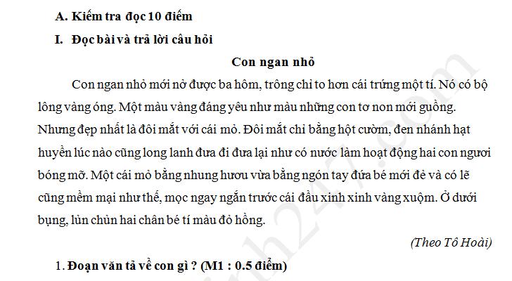 Đề thi học kì 2 lớp 1 môn Tiếng Việt 2018 - TH Kim Đồng