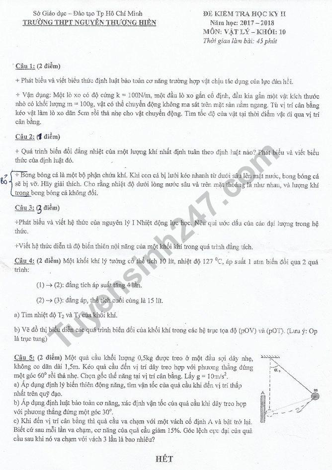 Đề thi kì 2 lớp 10 môn Lý - THPT Nguyễn Thượng Hiền 2018