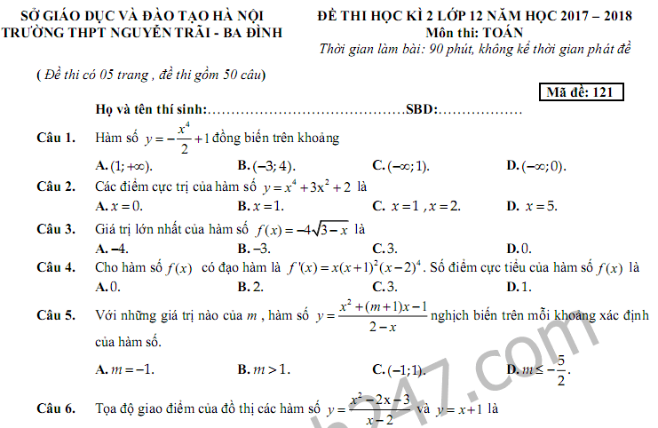 Đề thi học kì 2 lớp 12 môn Toán - THPT Nguyễn Trãi 2018