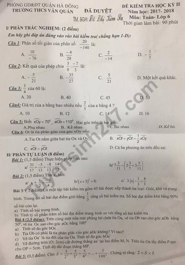 Đề thi kì 2 lớp 6 môn Toán 2018 - THCS Văn Quán