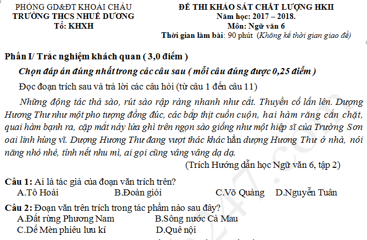 Đề thi kì 2 lớp 6 môn Văn năm 2018 - THCS Nhuế Dương