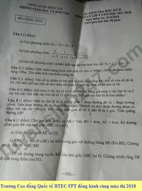 Đề thi học kì 2 lớp 8 môn Toán - Phòng GD&ĐT Quận Bình Tân 2018