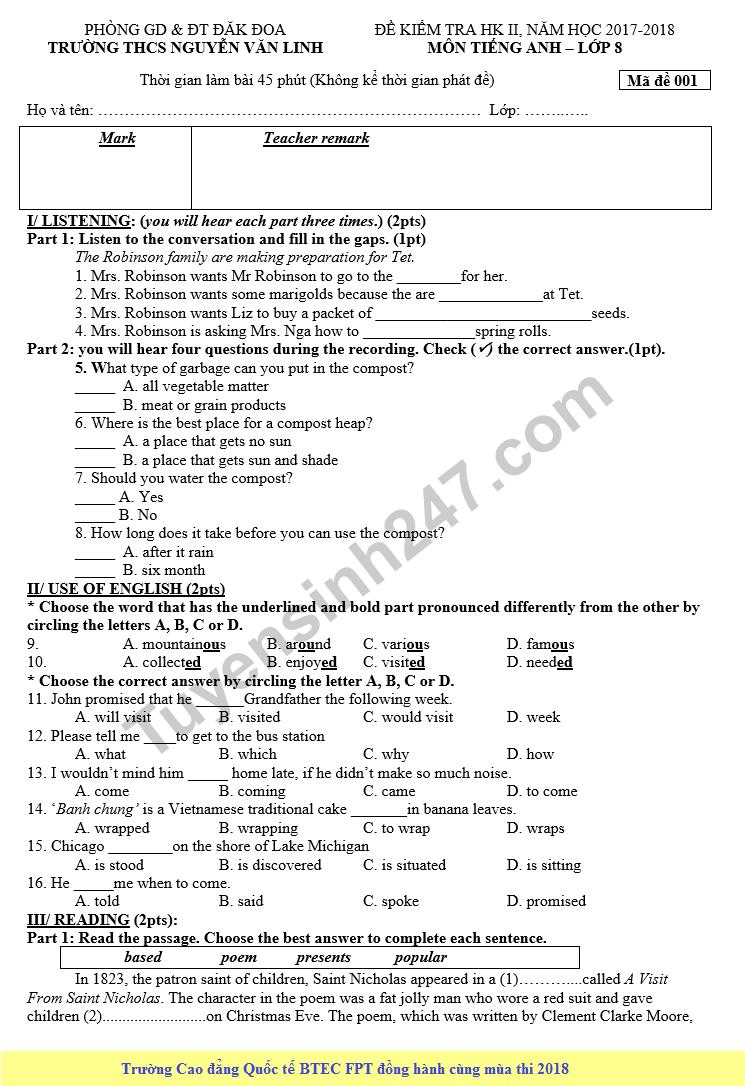 Đề kiểm tra học kì 2 lớp 8 môn Anh - THCS Nguyễn Văn Linh 2018