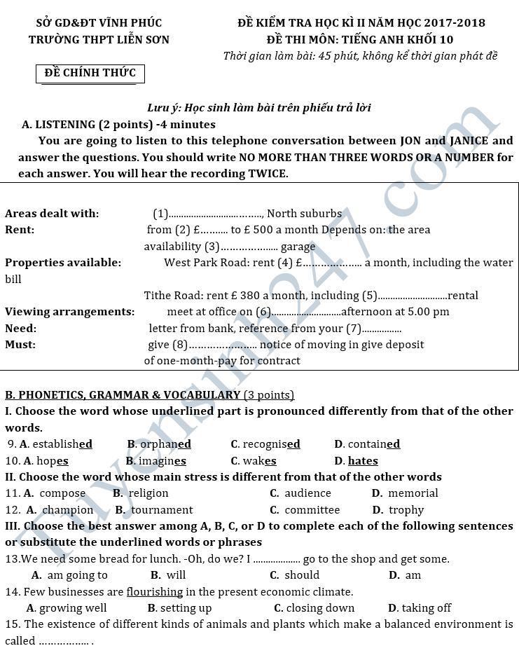 Đề kiểm tra học kì 2 lớp 10 môn Anh - THPT Liễn Sơn 2018