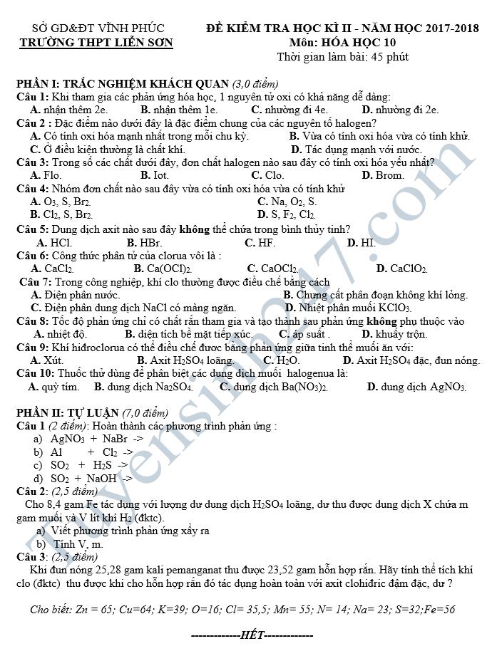 Đề thi học kì 2 lớp 10 môn Hóa - THPT Nguyễn Đình Chiểu 2018