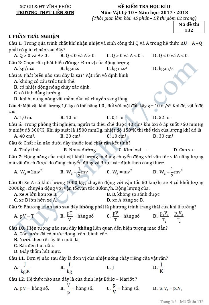 Đề thi học kì 2 lớp 10 môn Vật lý - THPT Liễn Sơn năm 2018