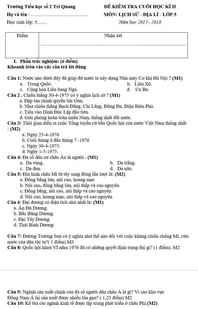 Đề kiểm tra học kì 2 lớp 5 môn Sử&Địa - Tiểu học số 2 Trì Quang 2018