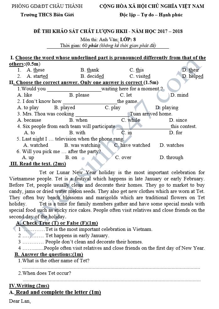 Đề kiểm tra học kì 2 lớp 8 môn Anh - THCS Biên giới 2018