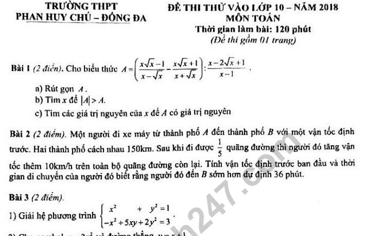 Đề thi thử vào lớp 10 môn Toán - THPT Phan Huy Chú 2018