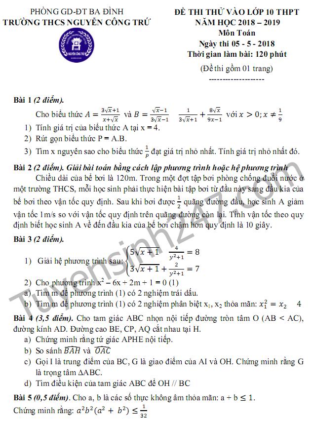Đề thi thử vào lớp 10 môn Toán 2018 - THCS Nguyễn Công Trứ